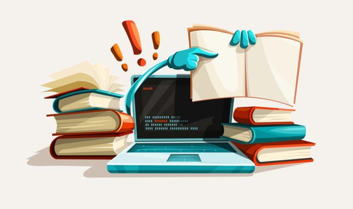 パソコンと本のイラスト