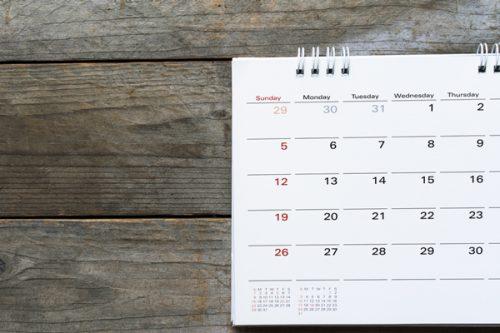 日曜アップのカレンダー