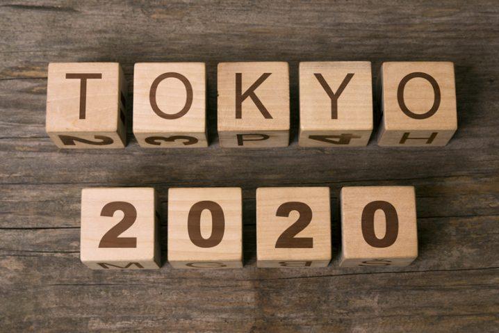 TOKYO2020の木の置物